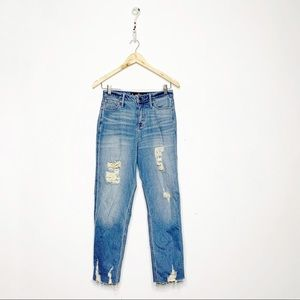 Hollister Ultra High Rise Mom Jean Distressed 27 5